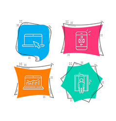 mail web analytics and portable computer icons vector image