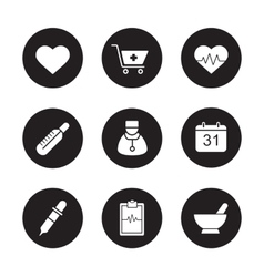 Medical black icons set vector