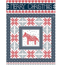 Merry Christmas card with dala horse in red blue vector image