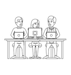 Monochrome silhouette of teamwork of woman and men vector