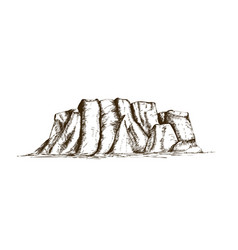 mountain ridge or natural landmark hand drawn in vector image