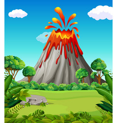 nature scene of volcano eruption vector image