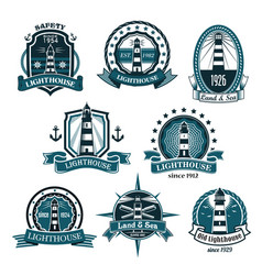 nautical lighthouse icons set vector image