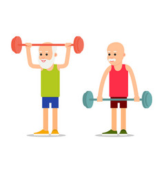 old person perform exercises to barbell lifting vector image
