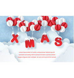 origami paper art postcard xmas with balloon vector image