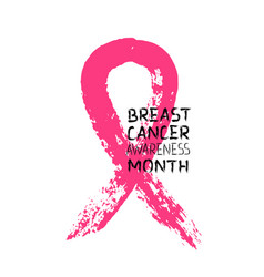 Pink ribbon breast cancer awareness month poster vector