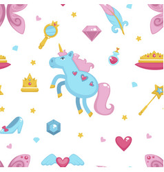 princess with fairy elements unicorn and magic vector image