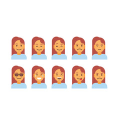 Profile icon female different emotion set avatar vector