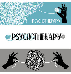 psychotherapy concept banners set vector image