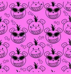 punk bear pattern vector image