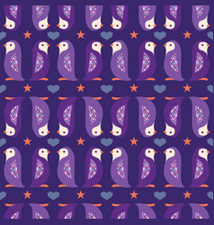 purple folk penguins stripes seamless pattern vector image