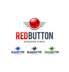 red button logo vector image