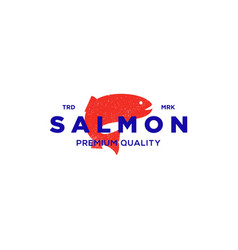 Salmon fish logo seafood label badge vector