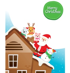Santa Claus Snowman And Animals On Roof vector