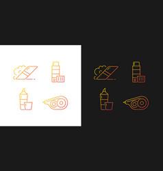 School accessories gradient icons set for dark vector