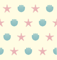 seamless pattern on marine theme with shells vector image