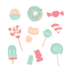 set hand drawn candies donut lollipop candy vector image