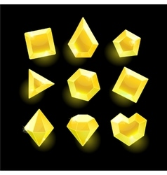 Set of cartoon yellow different shapes crystals vector image