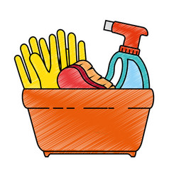 Shopping basket with cleaning products vector
