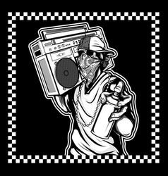 Skull hip hop handling spray paint and boombox vector