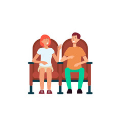 smiling couple sitting in cinema chairs cartoon vector image