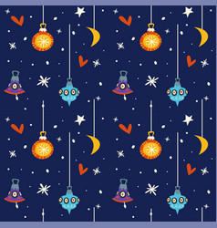 Starry night at winter sky merry christmas holiday vector