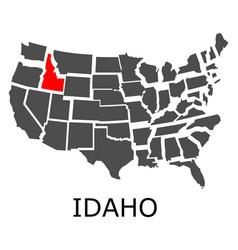 state idaho on map usa vector image