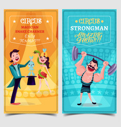 Strongman and snake charmer on circus banner vector