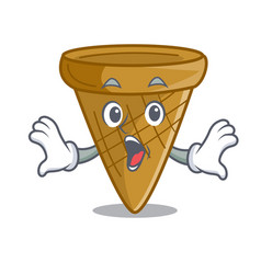 Surprised empty wafer cone for ice cream character vector