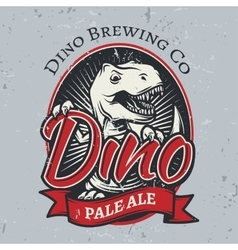 T-rex brewery insignia design pale ale label vector