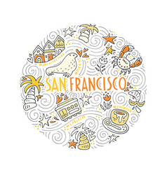 the circle with san francisco symbols vector image