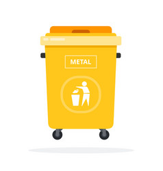 trash can on wheels for metal sorting flat vector image