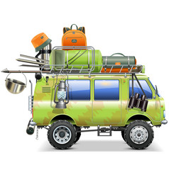 Travel car with camping accessories vector