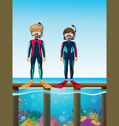 Two divers standing on bridge vector