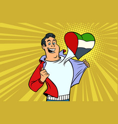 Uae patriot male sports fan flag heart vector
