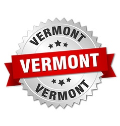 Vermont round silver badge with red ribbon vector
