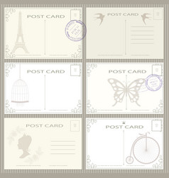 vintage postage card set vector image