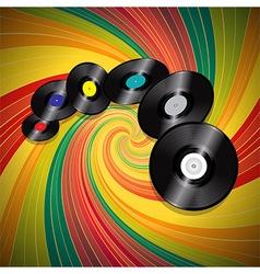 Vinyl records over multicolor vintage swirl vector