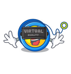Virtual reality yoyo mascot cartoon style vector