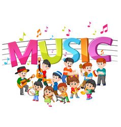 Word music with group band playing music vector