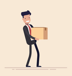 young businessman or manager with a cardboard box vector image