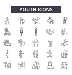 Youth line icons signs set linear vector