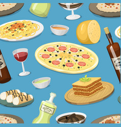 cartoon italy food cuisine homemade seamless vector image vector image