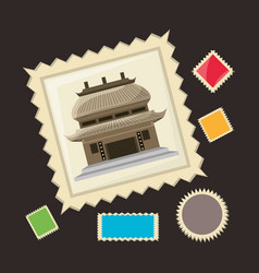 chinese architecture picture to remember of travel vector image vector image