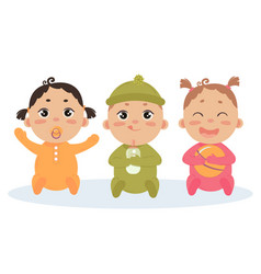 cute set of triplets babies baby girl boy vector image