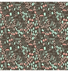 Doodle autumn forest seamless pattern vector image
