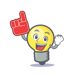 foam finger light bulb character cartoon vector image