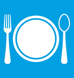 place setting with platespoon and fork icon white vector image