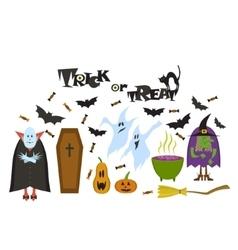 Set of Halloween characters Halloween banner vector image