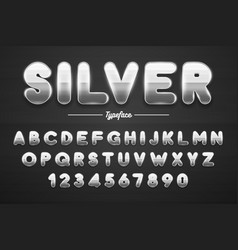 silver shining font letters and numbers vector image